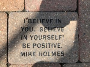 Photo of brick that says I believe in you